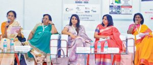 On the panel discussion- Bindu Neel GM Paul Hotel, Bharathi Kamath MD Carewel Facilities India Pvt Ltd, Swarnalatha executive Housekeeper ITC Gardenia, Leena Faculty member from Christ College