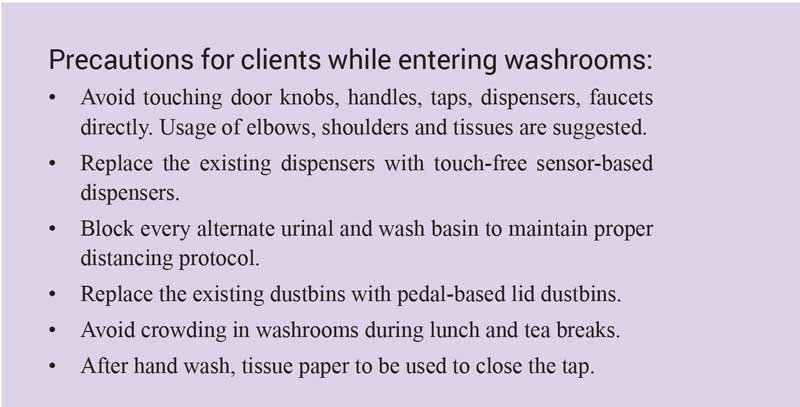 Precautions for clients while entering washrooms